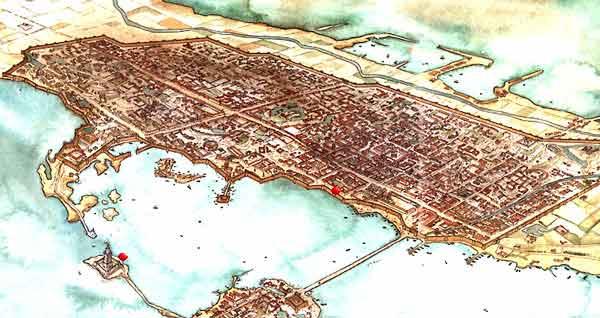 Reconstrucción de cómo debió ser la ciudad de Alejandría