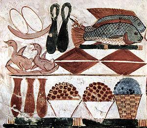 Representaciones en la tumba de Menna de las ofrendas de alimentos