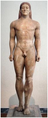 Los Kouroi, estatuas de jóvenes desnudos de época arcaica, tienen influencia egipcia.