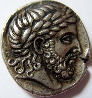 Tetradracma en el que estaría representado Filipo II de Macedonia