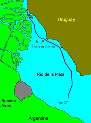 Ubicación en un mapa de la isla prisión Martín Garcia