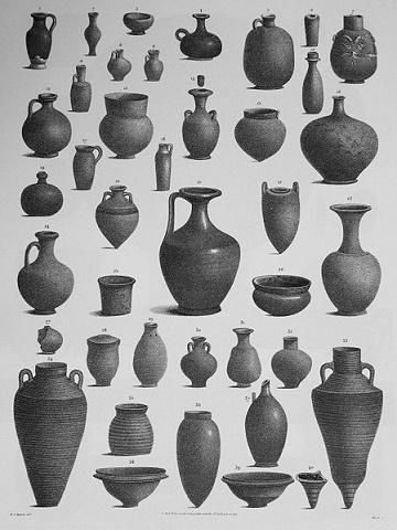 Algunas de las tpologías cerámicas más comunes del Antiguo Egipto