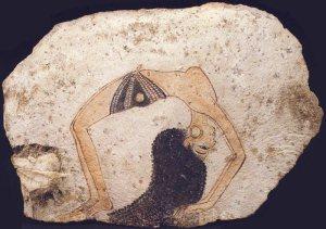 Bailarina en danza acrobática. XIX dinastía. Museo Egipcio Turín.