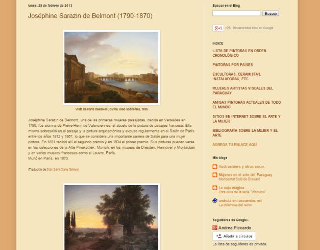 Captura de pantalla de uno de las biografías de este gran blog de mujeres pintoras