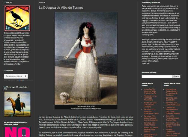 Captura de pantalla de uno de los artículos de este excelentísimo blog de Historia del arte