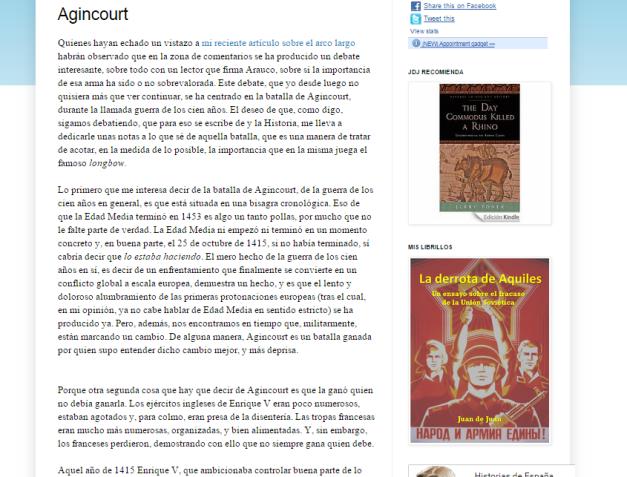 Captura de pantalla de uno de los artículos de este gran blog de curiosidades históricas españolas