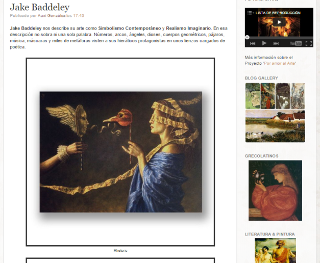Captura de pantalla de uno de los artículos de este gran blog de Historia de la pintura