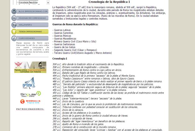 Captura de pantalla de uno de los artículos de este gran blog de Historia de Roma