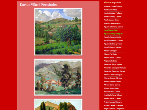 Captura de pantalla de uno de los artículos de este gran blog de paisajistas españoles del siglo XIX y XX
