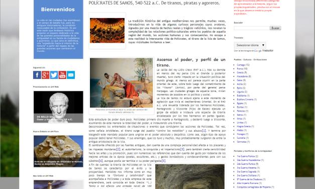 Captura de pantalla de uno de los artículos de este magnífico blog de Historia Antigua
