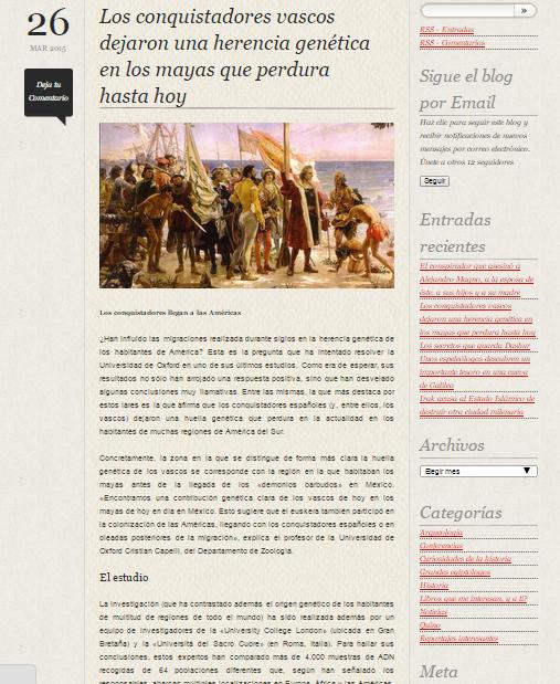 Captura de pantalla de uno de los artículos más recientes de este gran blog de Historia