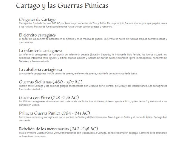 Captura de pantalla en los que se ven los artículos sobre una temática de Historia Antigua