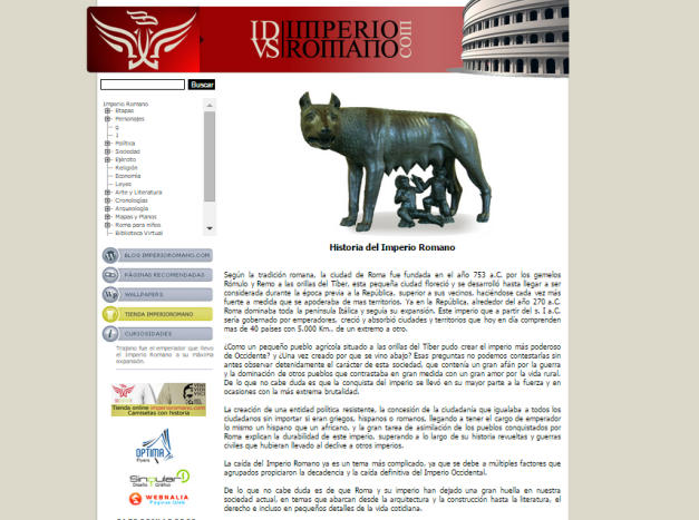 Captura de pantalla general de esta gran web de Historia de la Antigua Roma