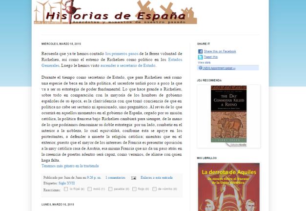 Captura de pantalla general de este gran blog de curiosidades de la Historia española