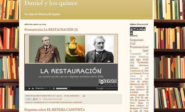 Captura de pantalla general de este gran blog de esquemas y presentaciones de la Historia de España