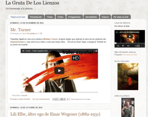 Captura de pantalla general de este gran blog de Historia de la pintura