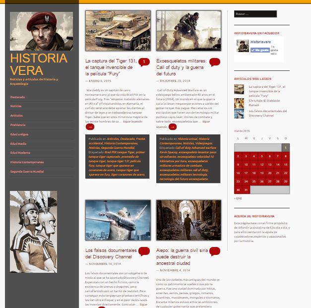 Captura de pantalla general de este gran blog de Historia y arqueología