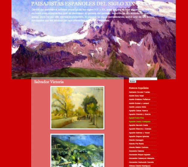 Captura de pantalla general de este gran blog de paisajistas españoles del siglo XIX y XX