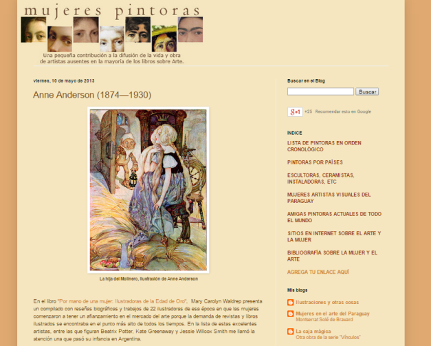 Captura de pantalla general de este gran blog sobre mujeres pintoras