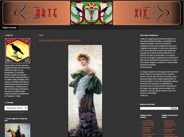 Captura de pantalla general de este magnífico blog de Historia del arte decimonónico