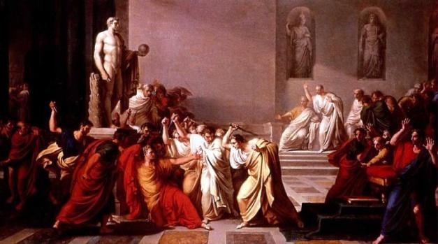 Cuadro que representa el asesinato de Cayo Julio César por senadores romanos