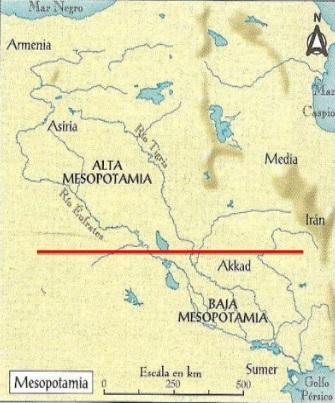 División aproximada, no exacta, entre la Alta y la Baja Mesopotamia