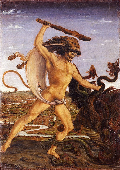 Escena en la que se representa al héroe Heracles matando a la Hidra