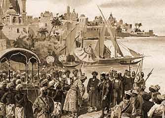 Escena que representaría la llegada de Vasco de Gama a Mozambique