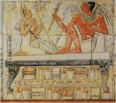 Esposa de Mereruka tocando el arpa. Tumba de Saqqara. Reinado de Teti