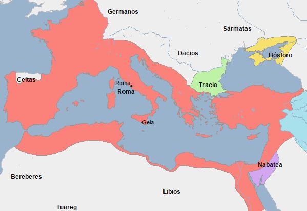 Extensión de Roma en el año de la incorporación de Egipto como provincia