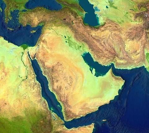 Foto satélite que muestra el Oriente Próximo