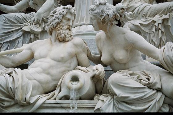 Fuente de la ciudad de Viena en la que se representa a Zeus y Hera, hermanos y marido y mujer