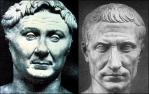 Imagen combinada en la que se muestra a Pompeyo y César