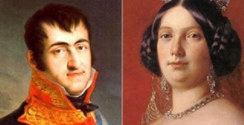 Imagen combinada que muestra a Fernando VII y a Isabel II