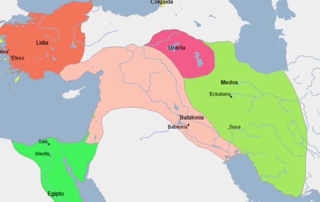 Mapa de Próximo Oriente a comienzos del s.VII a.C.