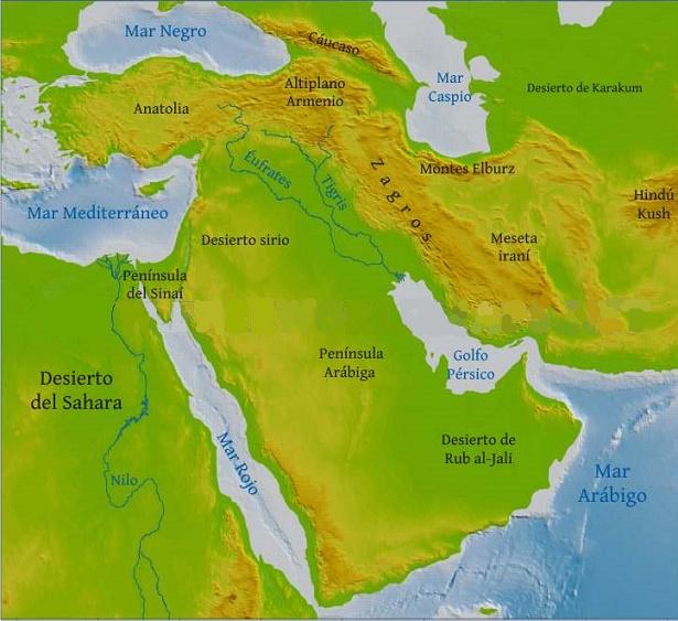 Mapa físico del Oriente Próximo