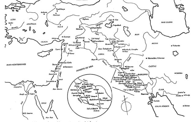 Mapa general de todos los centros importantes del Próximo Oriente Antiguo