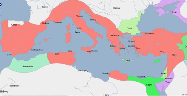 Mapa político del Mediterráneo en el 69 a.C., año del nacimiento de Cleopatra VII
