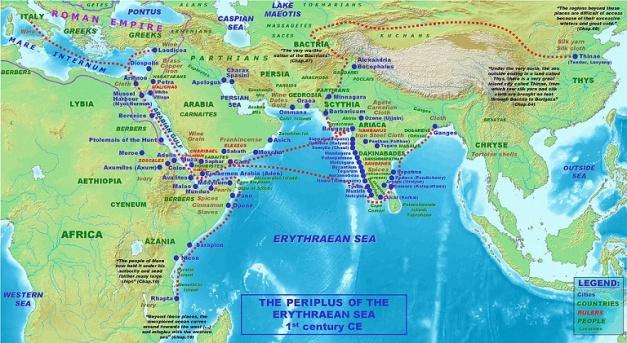 Mapa que muestra (en inglés) las rutas comerciales de Roma con la India