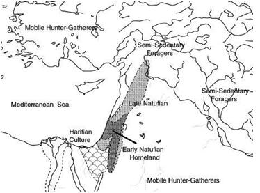 Mapa que muestra la extensión del natufiense