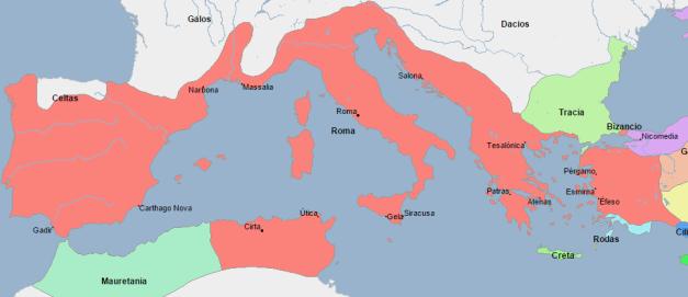 Mapa que muestra la gran extensión territorial de Roma a finales del siglo II a.C.