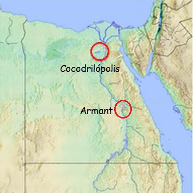 Mapa que muestra la ubicación de las ciudades de Cocodrilópolis y Armant