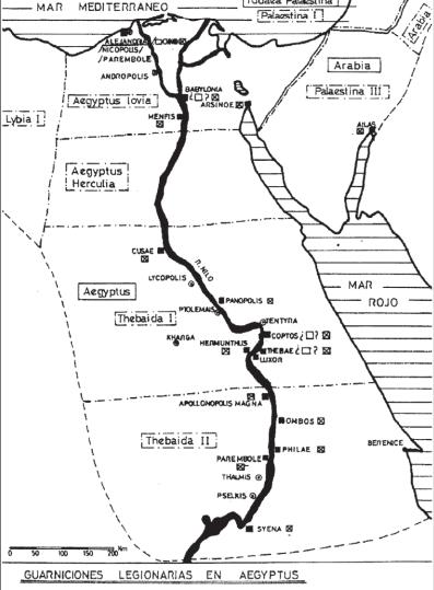 Mapa que muestra las guarniciones militares romanas en Egipto