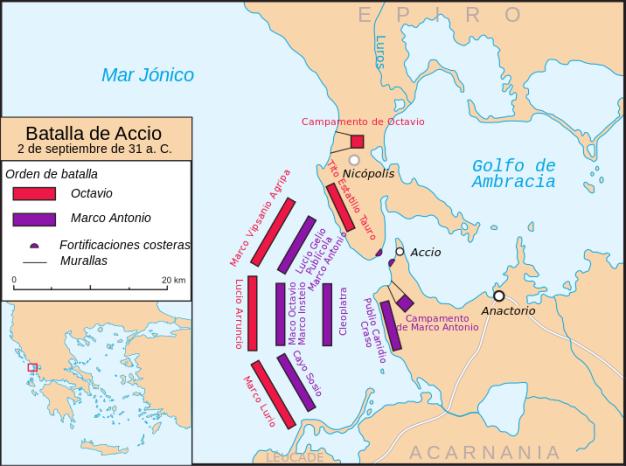 Mapa que representa la batalla de Actium, en el año 31 a.C.