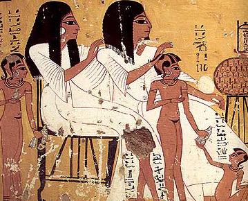 Escena que representa a niños egipcios