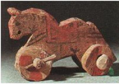 Pequeño caballo de madera, juguete usado sobre todo por niños