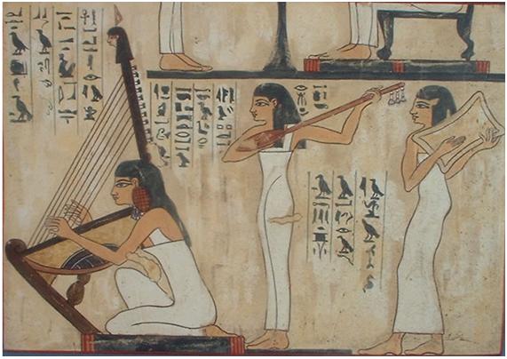 Pinturas en las que se puede ver a mujeres tocando diferentes instrumentos