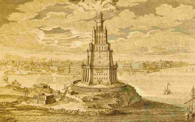 Reconstrucción de cómo debió ser el Gran Faro de Alejandría