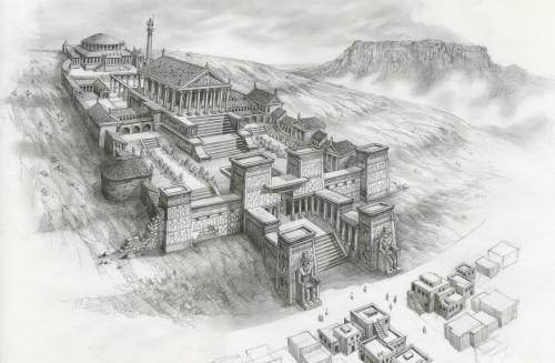 Reconstrucción del Museion de Alejandría, donde se encontraría la Biblioteca
