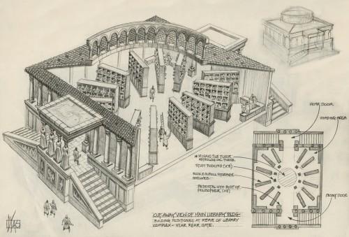 Reconstrucción del interior y exterior aproximado de la Biblioteca de Alejandría